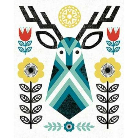 - Folk Lodge Deer II V2 Teal Canvas Art - Michael Mullan (24 x 30)