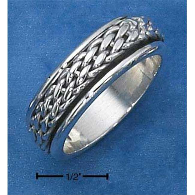 Sterling Silver Mens Antiqued Worry Ring with Woven Spinning Band - Size 9