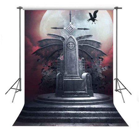 GreenDecor Polyster 5x7ft Retro Tombstone With Spider Web Photography Backdrop Photo Props Halloween Theme Background](Spider Web Halloween Background)