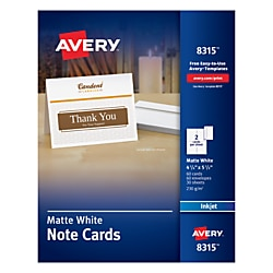 "Avery® Inkjet Note Cards, 4 1/4"" x 5 1/2"", White, Pack Of 60"