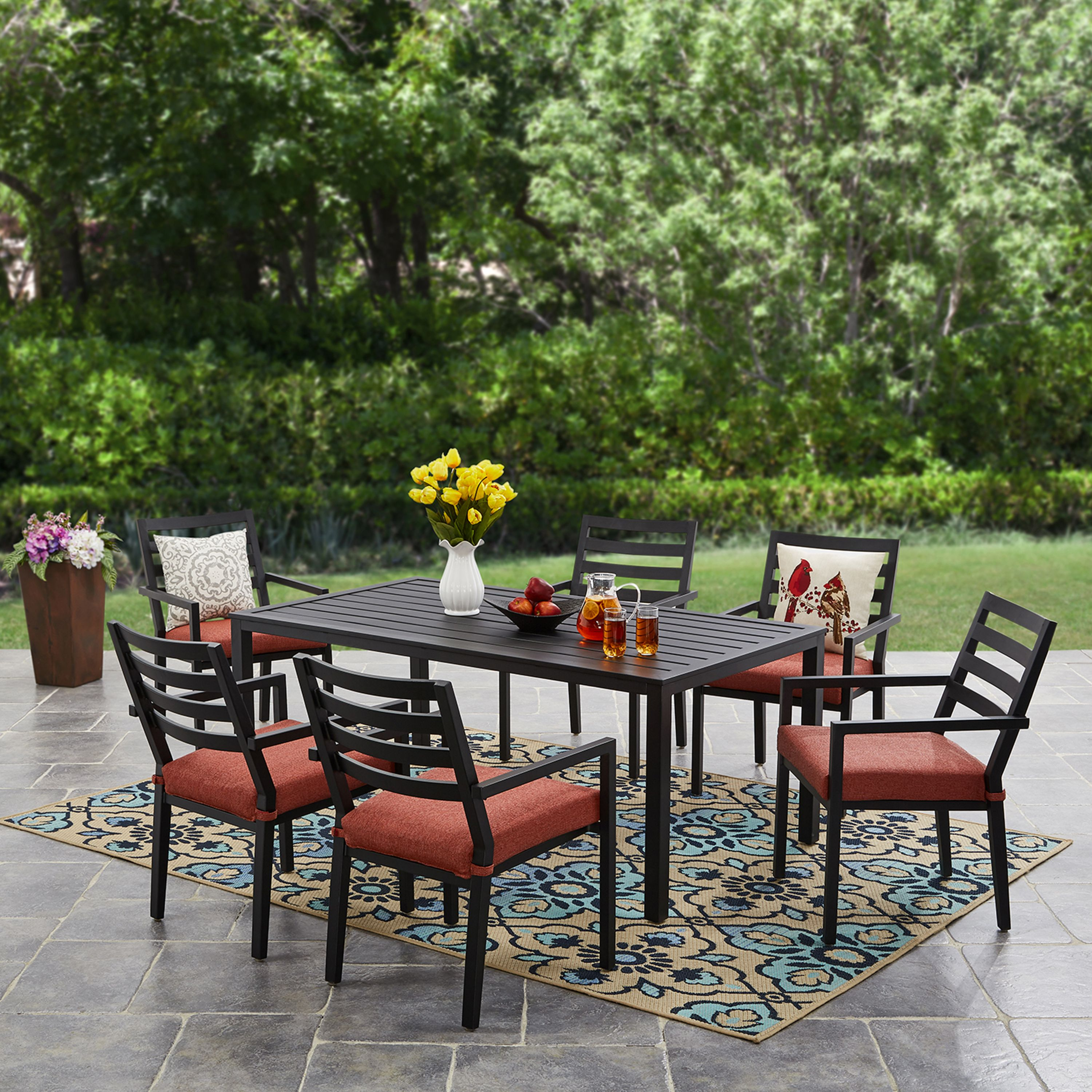 Mainstays Claredon 7 Piece Outdoor Patio Dining Set Walmart Com