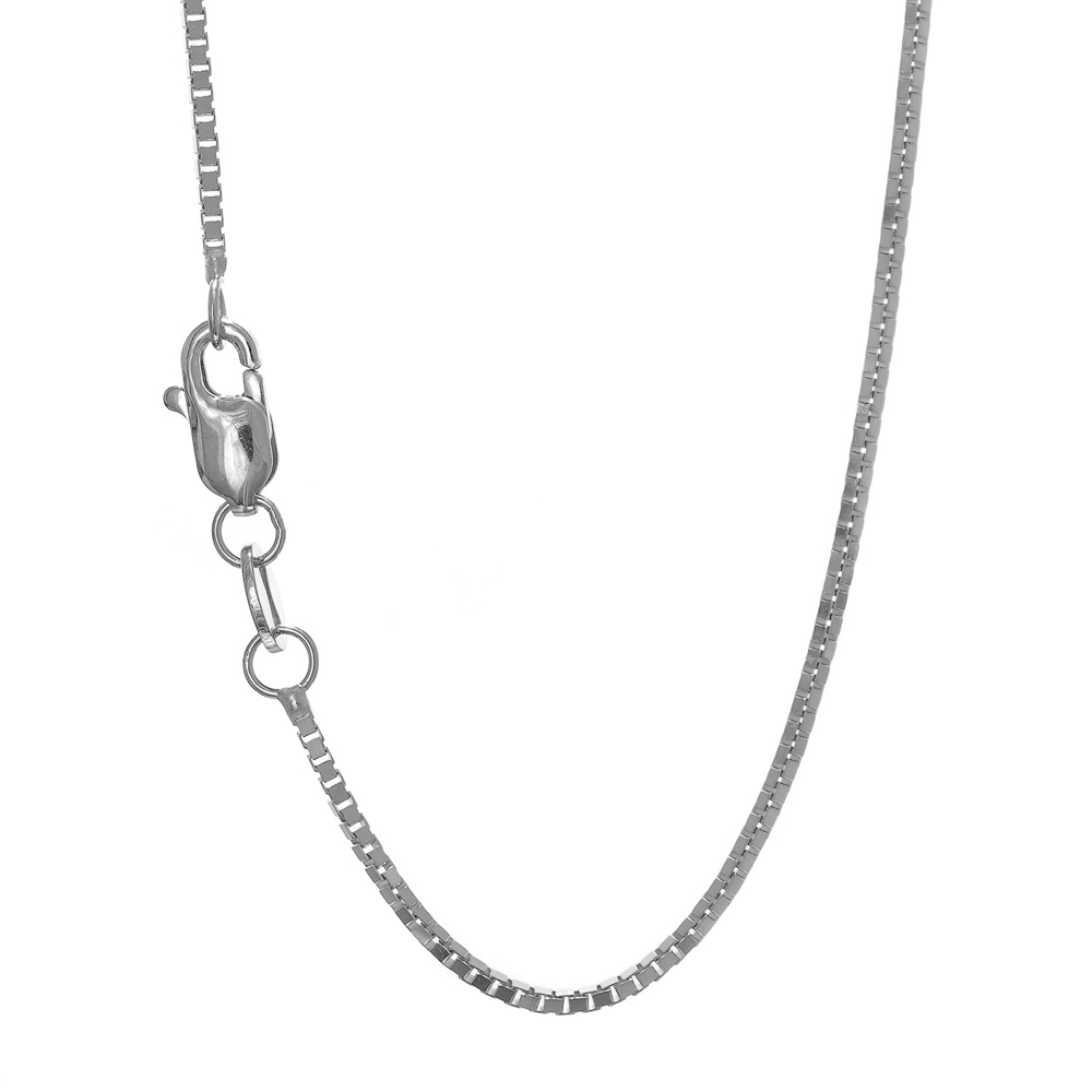 "10K 22"" White Gold 1.0mm Shiny Box Chain with Lobster Clasp by BH5STAR"