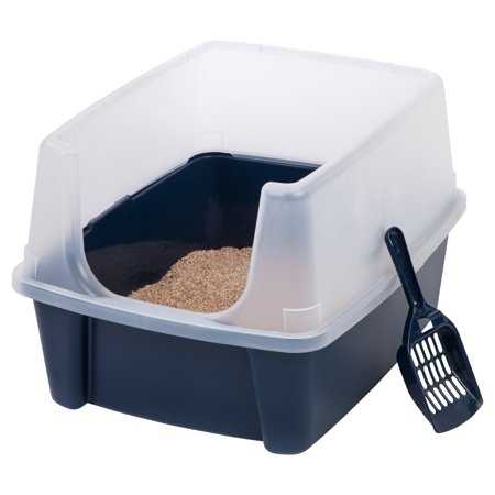 IRIS Open-Top Cat Litter Box with Shield and Scoop, Regular, Navy