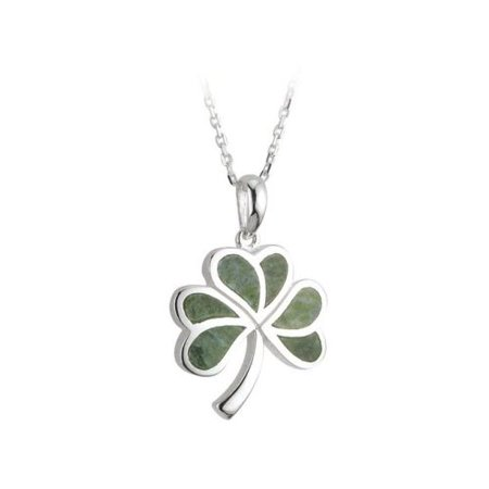 Shamrock Necklace Silver & Irish Connemara Marble ()