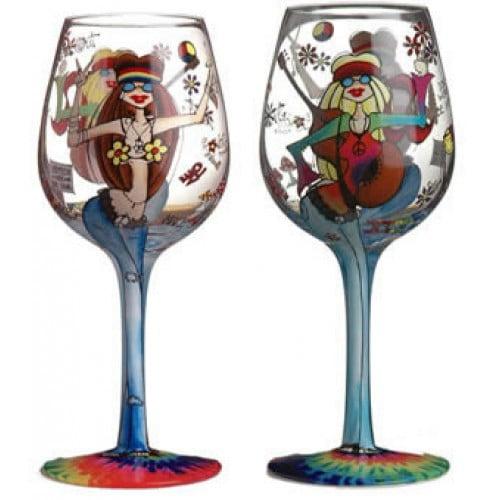 Image of 95 & Sunny Hippee Chicks-Bottom's Up Wine Glass
