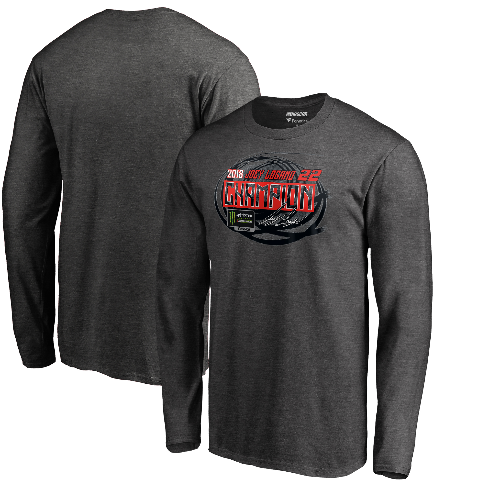 Joey Logano Fanatics Branded 2018 Monster Energy NASCAR Cup Series Champion Winner's Circle Long Sleeve T-Shirt - Heather Gray