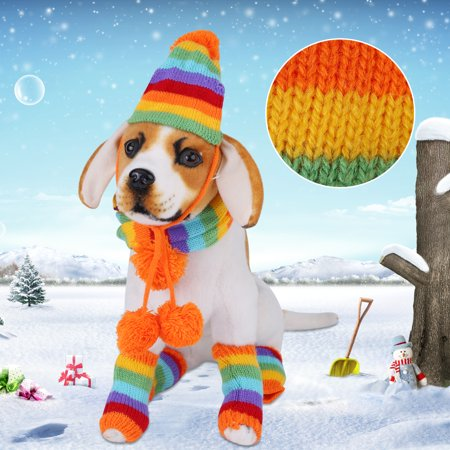TMISHION 6Pcs/Set Autumn Winter Pet Cat Dog Puppy Doggie Lovely Hat + Scarf + Leg Warmer Costume Outfits,Rainbow XXS