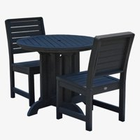 highwood® Eco-Friendly Recycled Plastic Weatherly 3pc Round Dining Set
