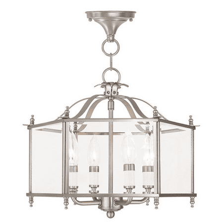 Chandeliers 4 Light With Clear Beveled Glass Brushed Nickel size 15.5 in 240 Watts - World of Crystal