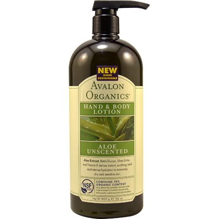 Avalon Organics Hand and Body Lotion, Aloe Unscented, 32 Fl Oz