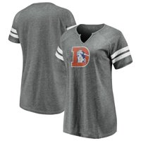 Denver Broncos NFL Pro Line by Fanatics Branded Women's Distressed Tri-Blend Notch Neck T-Shirt - Gray/White