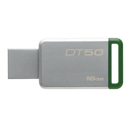 Kingston DataTraveler DT50 16GB, USB 3.0 Flash Drive, Metal/Green Casing (DT50/16GB) 16 Gb Privacy Usb