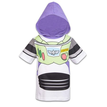 Disney Toy Story Boys Hooded Shirt Toy Story Costume Tee - Buzz Lightyear Sheriff Woody