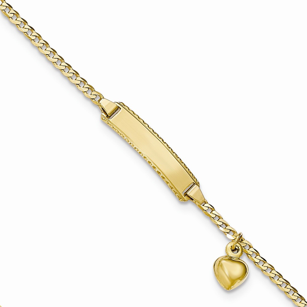 14k Yellow Gold Engravable 6in Baby ID Curb w/Heart Dangle Bracelet