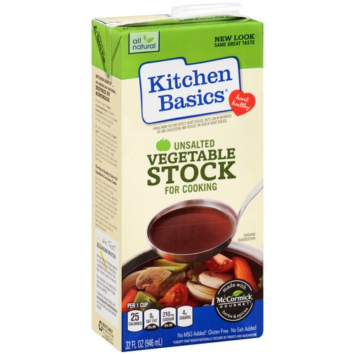 Kitchen Basics Unsalted Vegetable Stock for Cooking, 32 fl oz