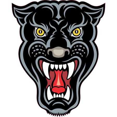 4in x 5in Panther Mascot Sticker Vinyl School Sports Decal Bumper - Panthers Decal