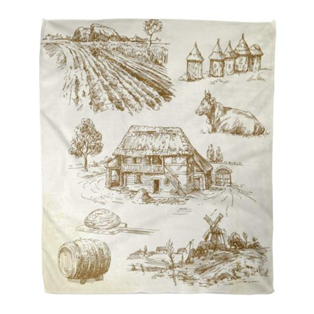 SIDONKU Throw Blanket Warm Cozy Print Flannel Farm Rural Landscape Agriculture Farming Old Village Sketch House Tree Vintage Comfortable Soft for Bed Sofa and Couch 58x80 -