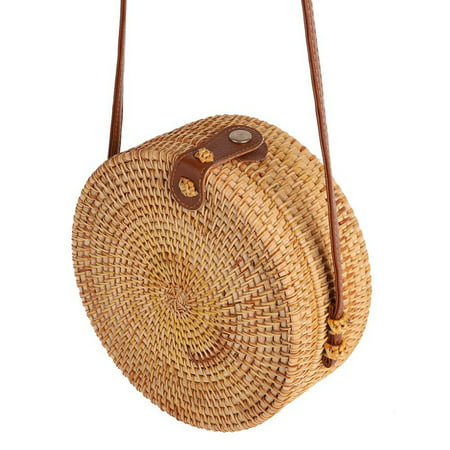 Beautiful Straw Bags (Fysho Handwoven Round Rattan Bag Shoulder Leather Straps Natural Chic Handbag straw rattan crossbody bag )