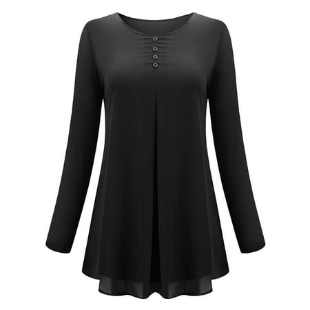 Women Casual Leisure O Neck Pleated Cuffed Sleeve Chiffon T-shirt Blouse Tops - image 1 of 9