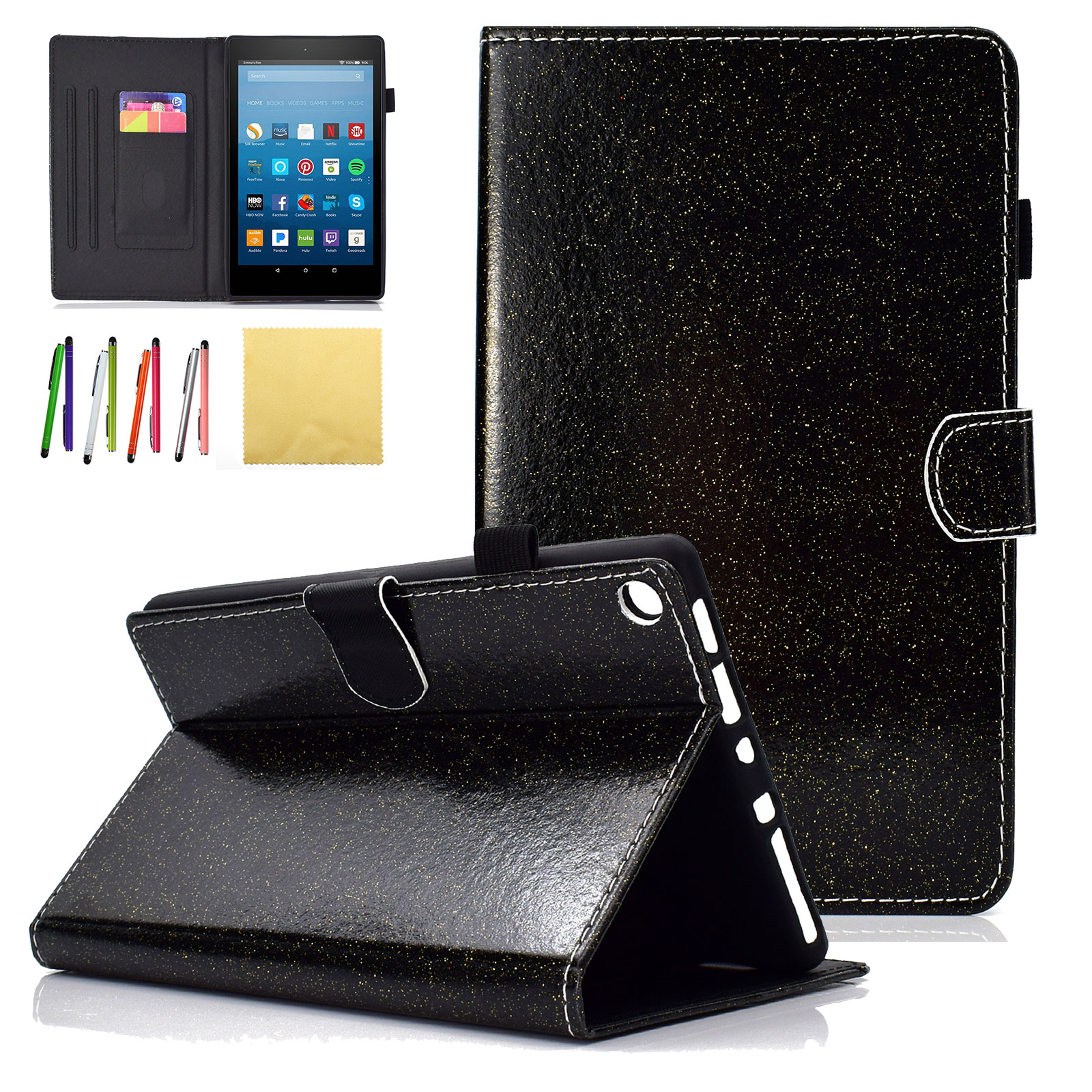 Fire HD 8 2018 2017 2016 & 2015 Kids Case, Goodest Slim Folio Glitter Stand Smart Case Covers w/Auto Sleep/Wake for All New Amazon Kindle Fire HD 8.0 inch (8th 7th 6th 5th Generation), Black