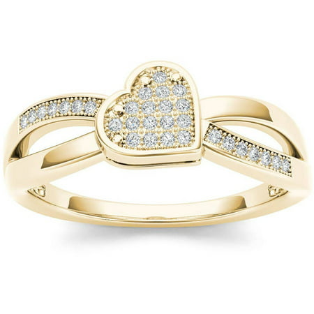 1/10 Carat T.W. Diamond Heart 10kt Yellow Gold Fashion Ring ()