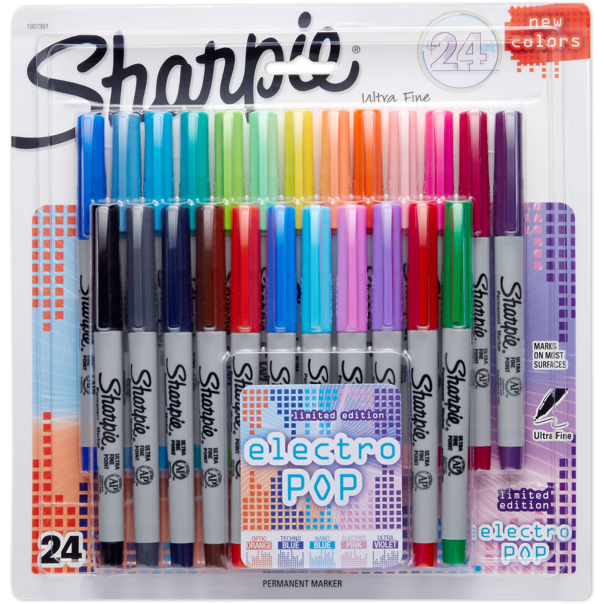 Sharpie Permanent Markers, Ultra-Fine Point, 80s Glam Colors, 24 Pack