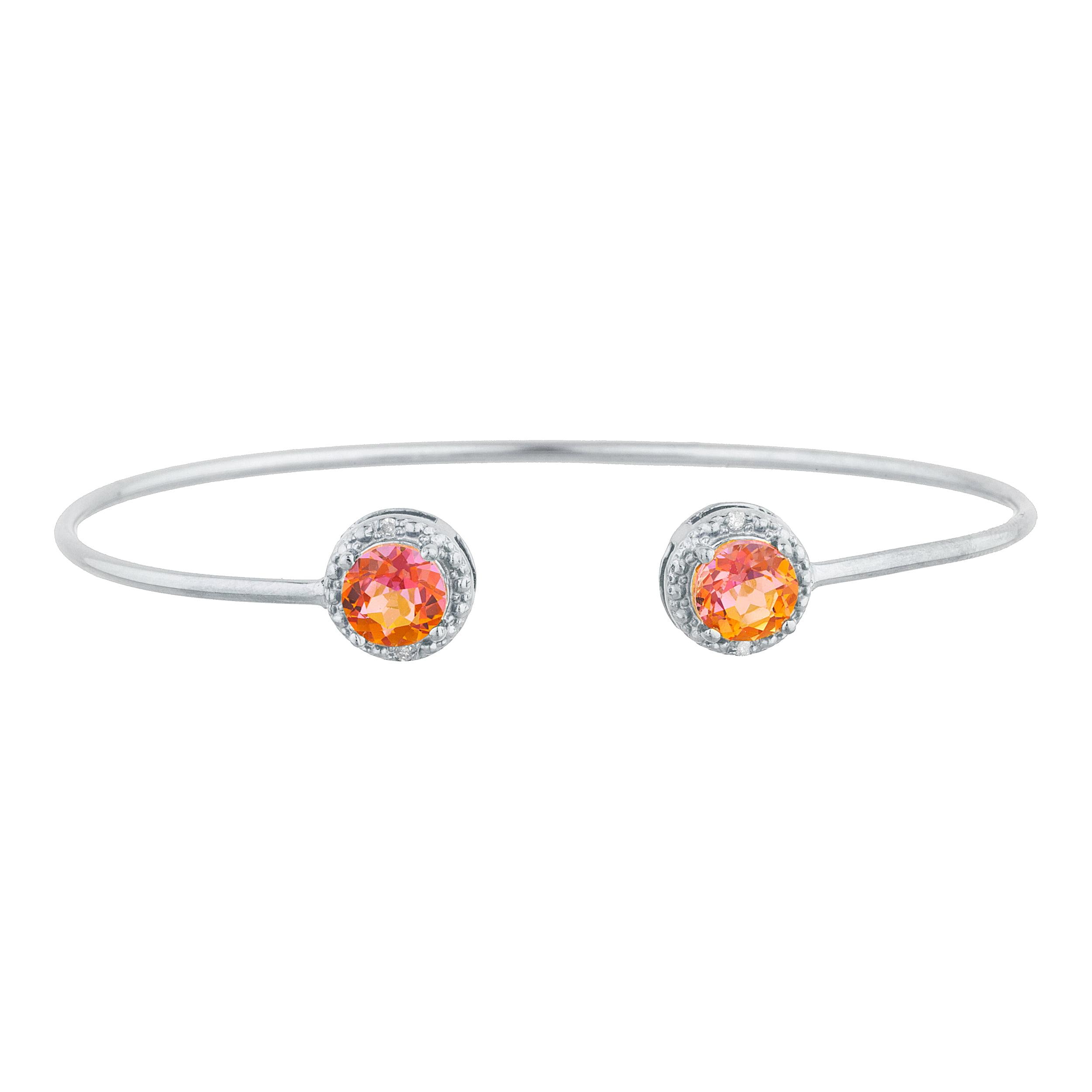 2 Ct Natural Ecstasy Mystic Topaz & Diamond Round Bangle Bracelet .925 Sterling Silver by Elizabeth Jewelry Inc