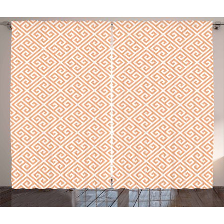 Greek Frieze (Greek Key Curtains 2 Panels Set, Frieze Pattern in Pastel Orange Historical Motif in Diagonal Squares Mosaic, Window Drapes for Living Room Bedroom, 108W X 84L Inches, Orange White, by Ambesonne)