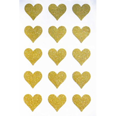 Gold heart stickers labels with glitter finish perfect for party favor bags and gift boxes - 150 Pack by Royal Green](Boxes For Gifts)