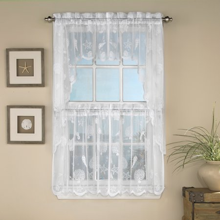 Reef Marine Knitted Lace Kitchen Curtains 24