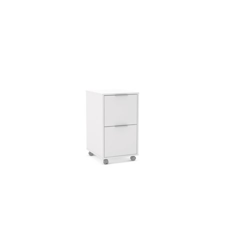 Polifurniture Durban 2 Drawer File Cabinet, White (Stainless Steel File Cabinet)