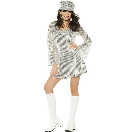 Shimmer Silver Metallic Womens 1970's Disco Outfit Halloween Costume (Pulp Fiction Halloween Outfit)