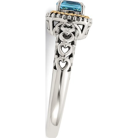 Sterling Silver w/14k Gold Blue Topaz Ring - image 1 of 6