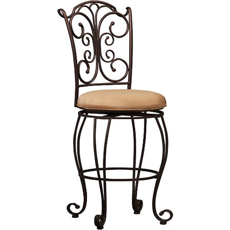 Linon Gathered Back Counter Stool, Brown, 24 inch Seat Height