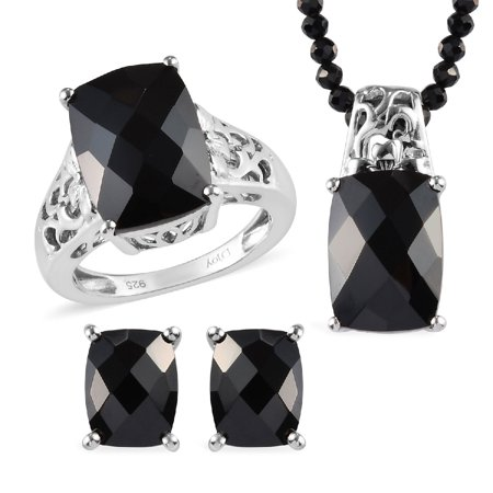 925 Sterling Silver Platinum Plated Cushion Black Spinel Ring Earrings Pendant Necklace Jewelry for Women Gift Size 8 & 20""