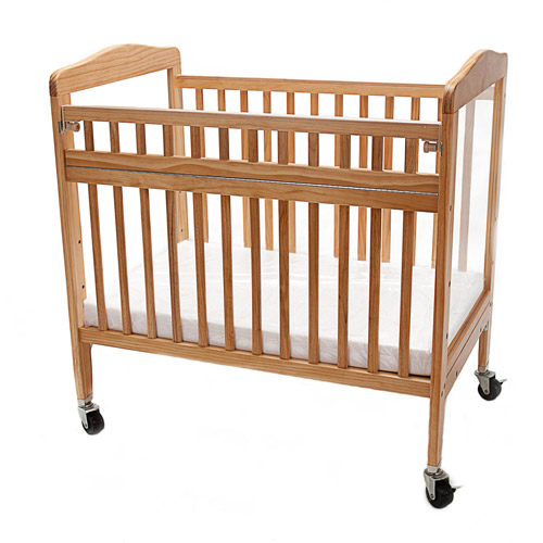 L.A. Baby Wood Window Portable Standard Crib Brown