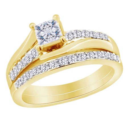 Womens Bridal Ring Set In 14k Yellow Gold With 1 CT Princess & Round White Natural Diamond With Ring Size 5.5