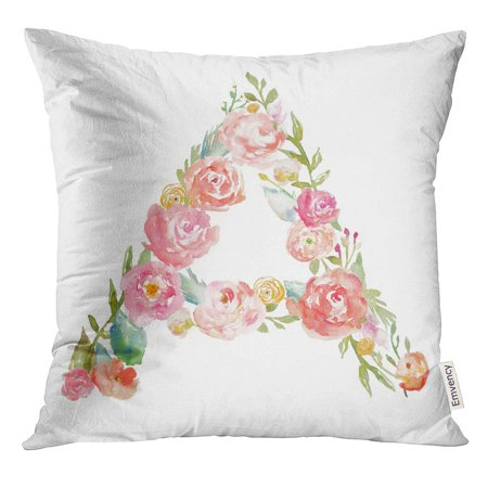 USART Colorful Alphabet Watercolor Floral Monogram Letter on White Initial Pillow Case 20x20 Inches Pillowcase