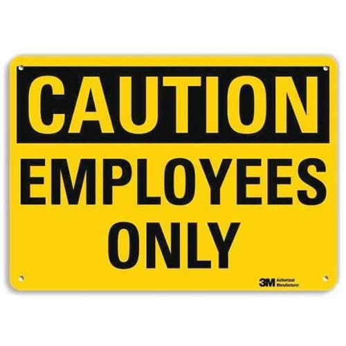 LYLE U4-1258-RA_14X10 Safety Sign, Employees Only, 10in.H