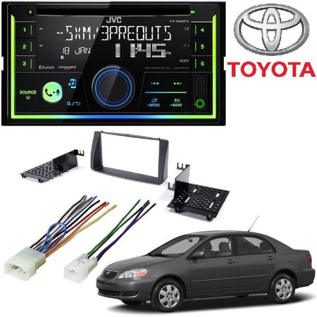 JVC KW-R930BTS Double DIN Bluetooth In-Dash Car Stereo 2003-2008 Corolla  Double Din Car Stereo Radio Install Kit W/ Wiring Harness