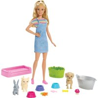 Barbie Play 'n Wash Pets Playset with Blonde Barbie Doll and 3 Color-Change Animal Figures