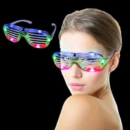 I460 LED Light Up Slotted Shades - Multicolor, These eye glasses feature 6 bright LEDs (2 red, 2 green, and 2 blue). BUY WITH CONFIDENCE! These.., By Fun (Buy Shade Com)