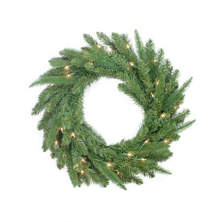 "24"" Pre-Lit PE/PVC Mixed Pine Artificial Christmas Wreath - Clear Lights"