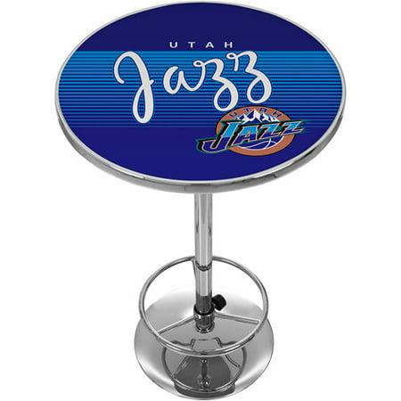 Utah Jazz Hardwood Classics NBA Chrome Pub Table by