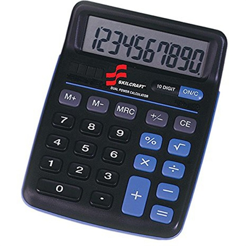 Skilcraft 10-Digit Calculator, Dual Powered, 3 Memory Keys, Black 4844580