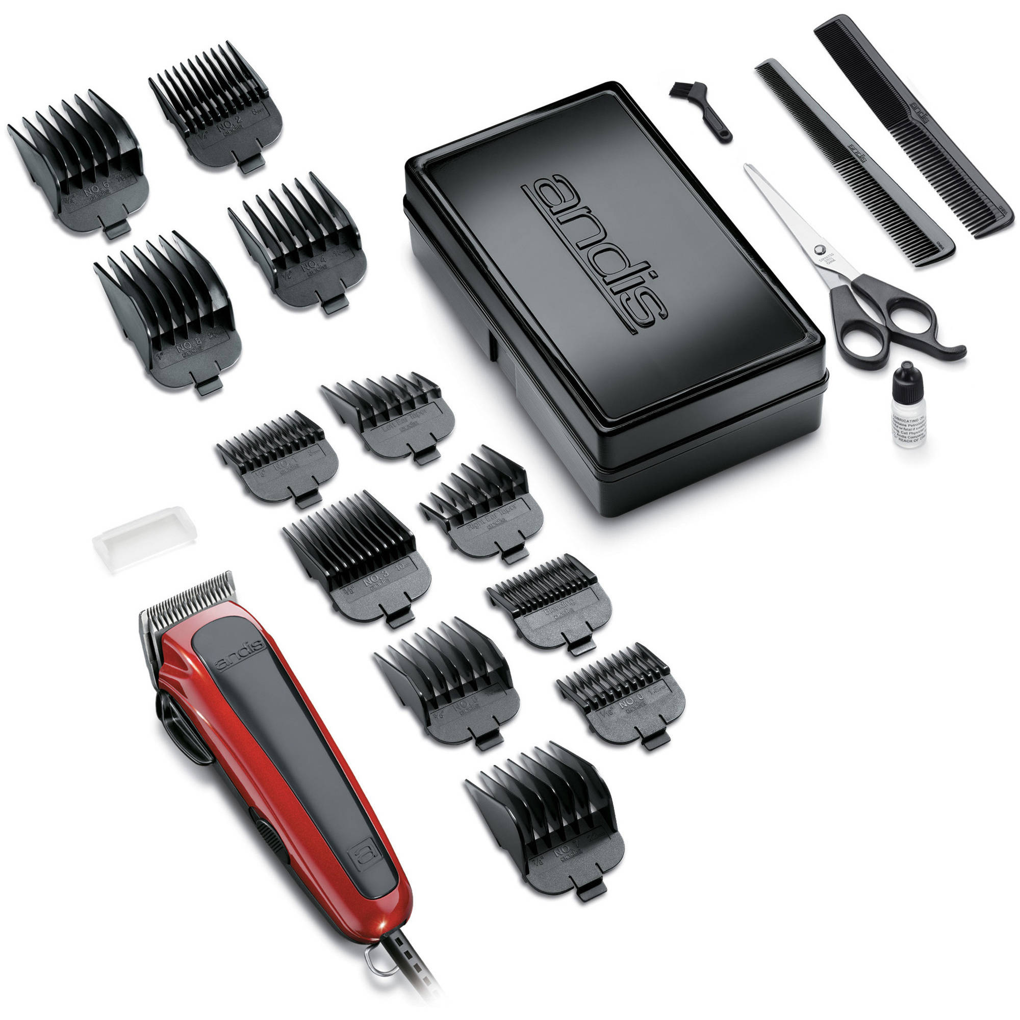 Andis Easy Cut 20-Piece Home Haircutting Kit, 75360, Red