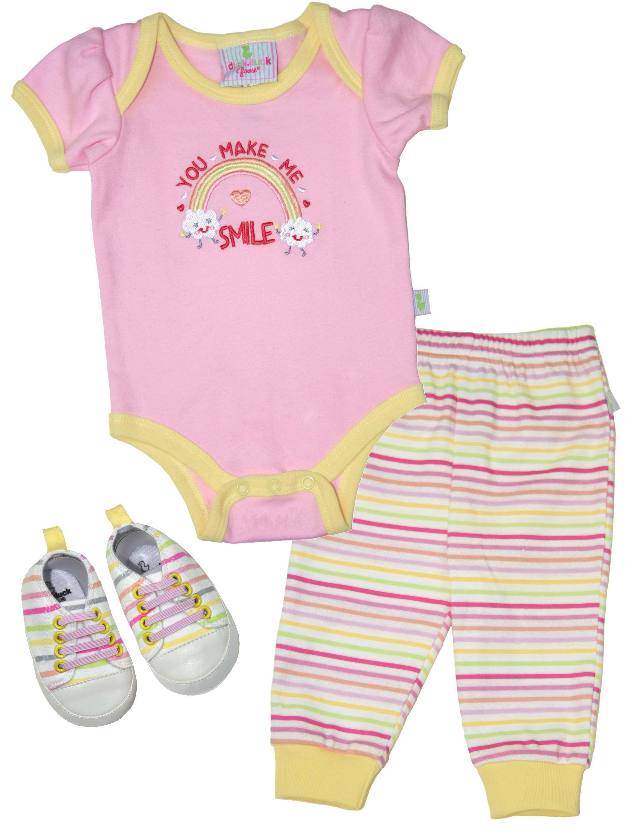 Newborn Baby Girl Bodysuit, Pants & Sneakers, 3pc Outfit Set