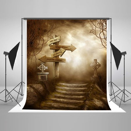 HelloDecor Polyster 5x7ft Haunted Halloween Pooth Backdrops Gloomy Forest Sign Stage Photo Studio Backgrounds for Children](Halloween Signs For Kids)