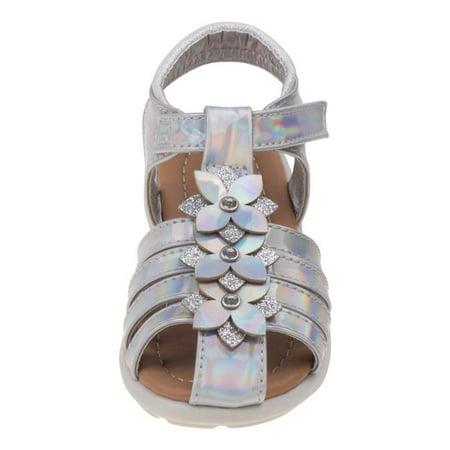 Laura Ashley O-LA82001CSILV10 Flower Fisherman Sandals for Toddler Girls, Silver - Size 10 (Laura Ashley Girls Wedge Sandal)