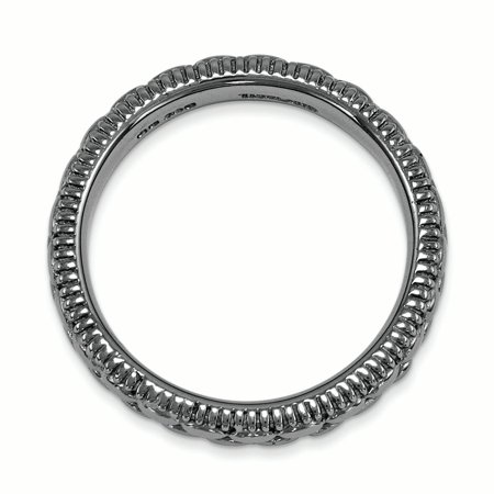 Sterling Silver Stackable Expressions Ruthenium-plated Patterned Ring Size 5 - image 3 of 3